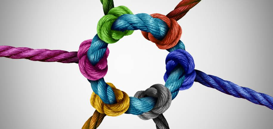 Circle of knots representing the support provided by a business peer group.
